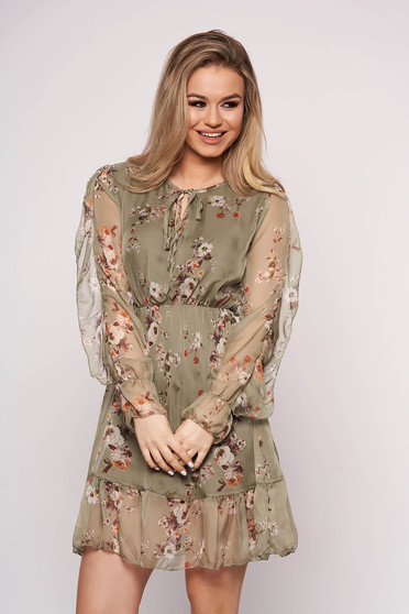 Green dress with elastic waist with ruffled sleeves daily with floral print short cut