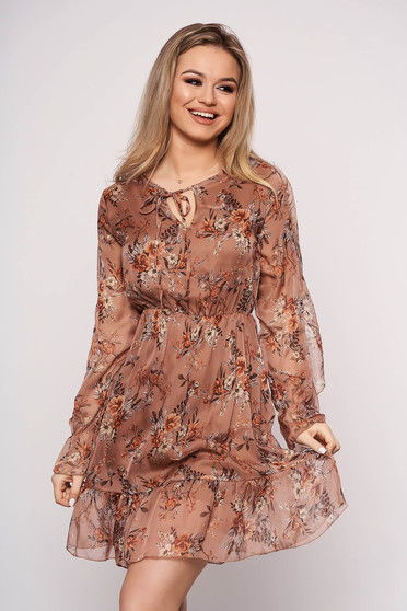 Brown dress with elastic waist with ruffled sleeves daily with floral print short cut