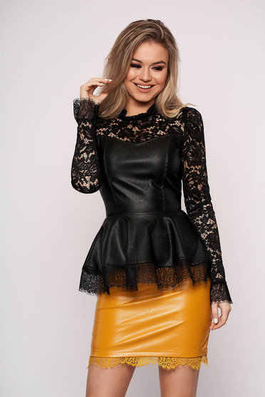 Elegant black women`s blouse from ecological leather with lace details peplum