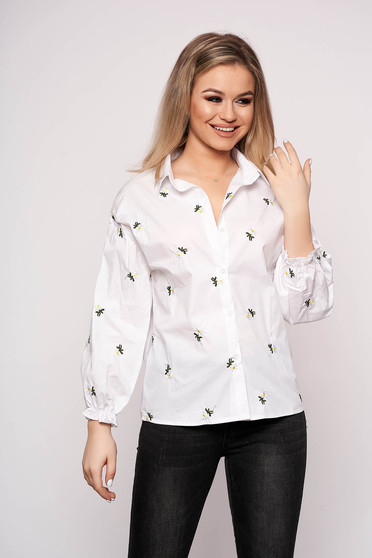 White women`s shirt casual flared short cut cotton with floral print