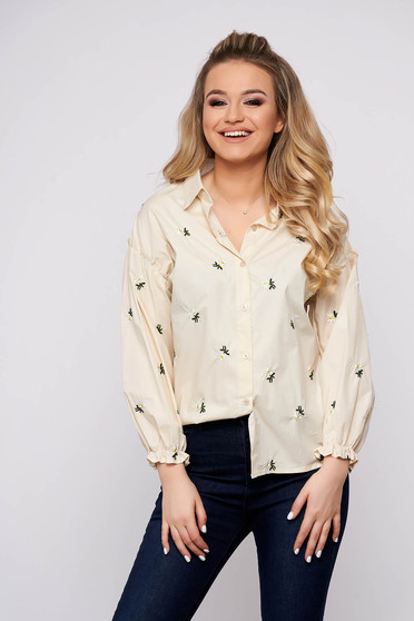 Cream women`s shirt casual flared short cut cotton with floral print