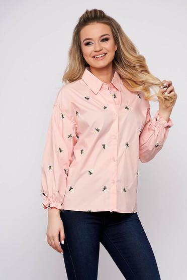 Peach women`s shirt casual flared short cut cotton with floral print