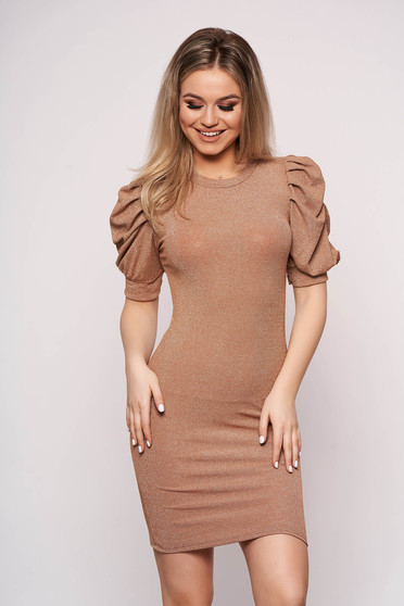 Brown dress casual daily short cut pencil knitted with glitter details with puffed sleeves