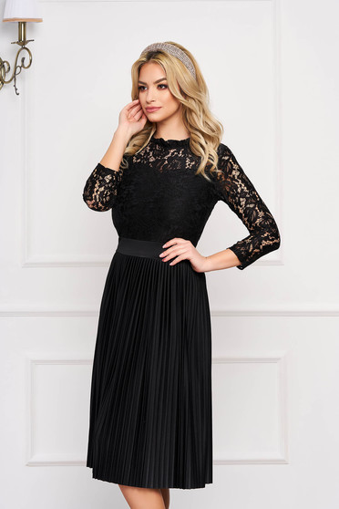 Black dress occasional cloche midi laced with elastic waist pleats of material