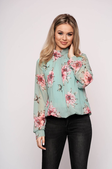 Aqua women`s shirt with floral prints from veil fabric short cut flared long sleeve elegant