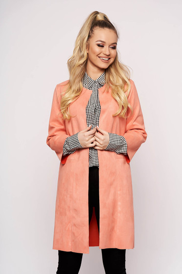 Coral cardigan from velour with straight cut with 3/4 sleeves casual