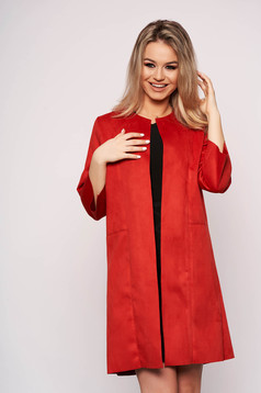 Red cardigan from velour with straight cut with 3/4 sleeves casual