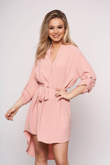 Lightpink dress daily asymmetrical accessorized with tied waistband straight long sleeved