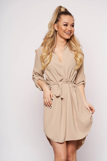 Cream dress daily asymmetrical accessorized with tied waistband straight long sleeved