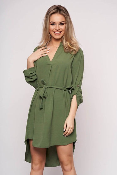 Green dress daily asymmetrical accessorized with tied waistband straight long sleeved