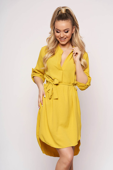 Yellow dress daily asymmetrical accessorized with tied waistband straight long sleeved