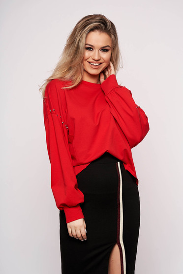 Red women`s blouse casual cotton short cut flared with crystal embellished details