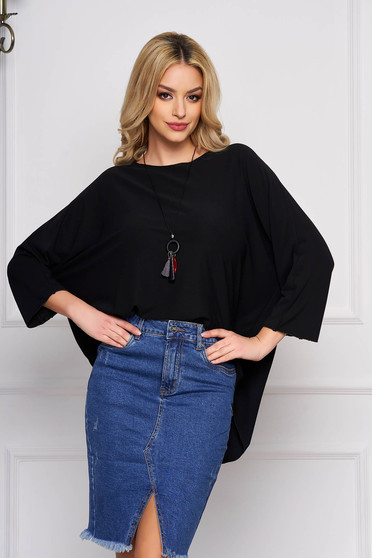 Black women`s blouse flared short cut casual asymmetrical cotton