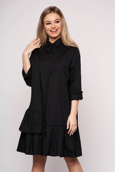 Black dress long sleeved short cut cotton with ruffle details casual cloche