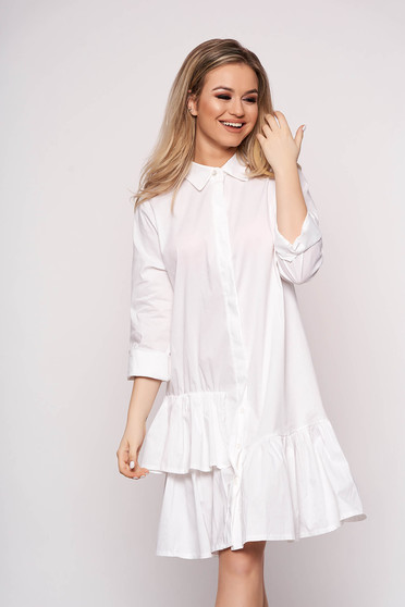 White dress long sleeved short cut cotton with ruffle details casual cloche