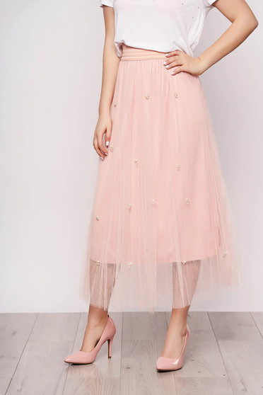 Lightpink skirt casual midi from tulle high waisted with pearls