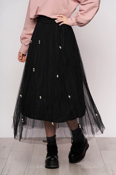 Black skirt casual midi from tulle high waisted with pearls