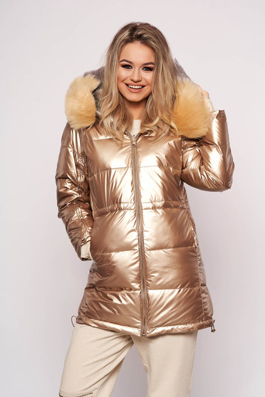 Gold jacket casual from slicker with elastic waist detachable collar fur collar