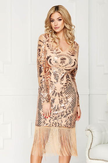 Gold dress occasional midi pencil with sequins fringes with v-neckline