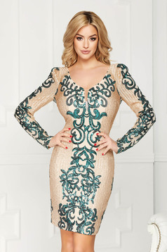 Cream dress elegant occasional short cut with sequins with deep cleavage with inside lining
