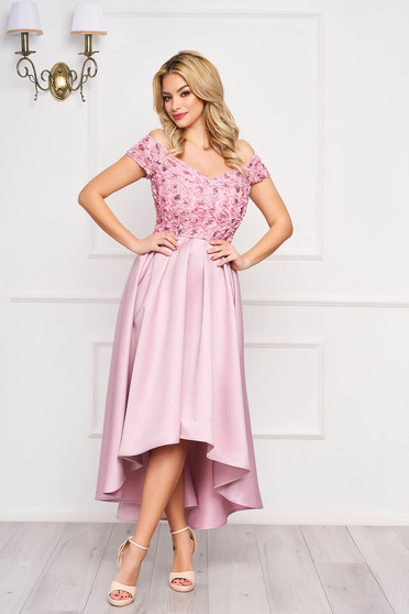 Occasional asymmetrical off-shoulder with sequin embellished details from satin