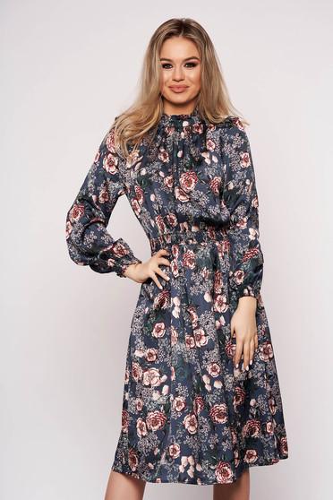 Darkblue dress with floral print cloche midi from satin elegant