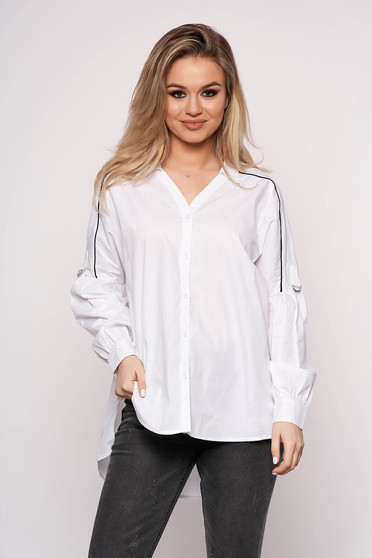 Women`s shirt office white asymmetrical long sleeved