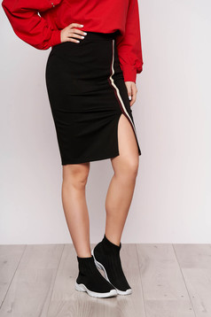 Black skirt slit with vertical stripes high waisted midi pencil casual