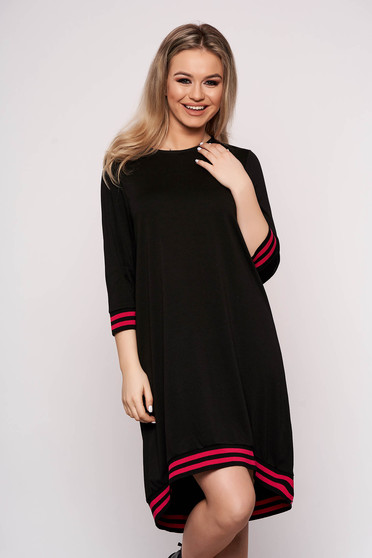 Black dress horizontal stripes with 3/4 sleeves casual asymmetrical flared