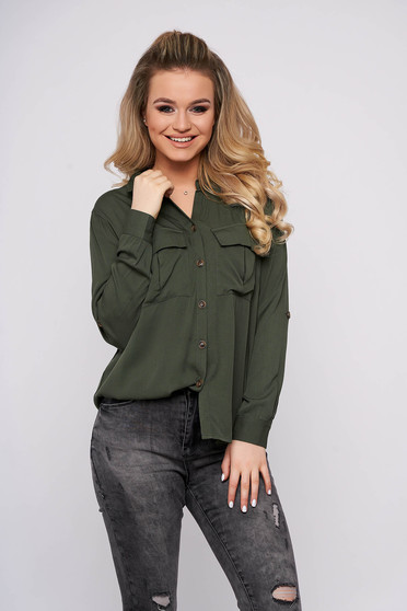 Green women`s shirt casual short cut cotton long sleeved with pockets