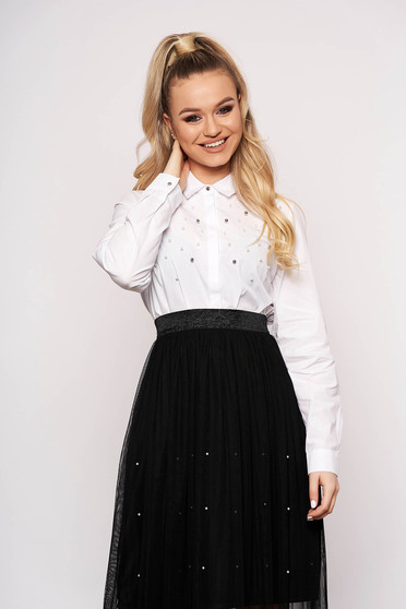 White women`s shirt elegant short cut cotton flared with pearls