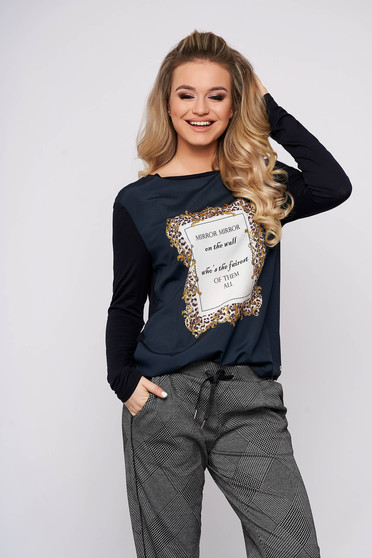 Darkblue women`s blouse casual flared cotton neckline long sleeved