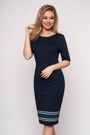 Darkblue dress horizontal stripes daily midi pencil with 3/4 sleeves