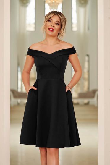StarShinerS black dress cloche occasional off-shoulder midi slightly elastic fabric