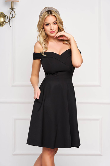 StarShinerS black dress cloche occasional off-shoulder midi slightly elastic fabric with glitter details