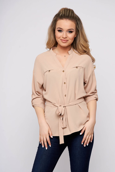 Peach women`s blouse flared cotton casual with button accessories short cut