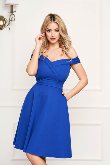 StarShinerS blue dress cloche occasional off-shoulder midi slightly elastic fabric with glitter details