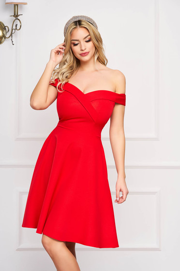 StarShinerS red dress cloche occasional off-shoulder midi slightly elastic fabric with glitter details