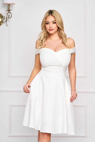 StarShinerS white dress cloche occasional off-shoulder midi slightly elastic fabric with glitter details