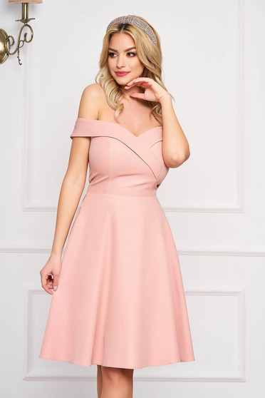 StarShinerS lightpink dress cloche occasional off-shoulder midi slightly elastic fabric with glitter details