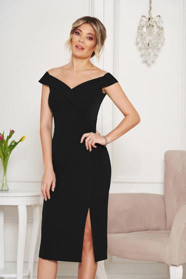 StarShinerS black dress slit occasional off-shoulder midi pencil