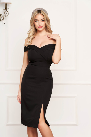 StarShinerS black dress slit occasional off-shoulder midi pencil with glitter details