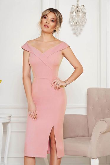 StarShinerS lightpink dress slit occasional off-shoulder midi pencil