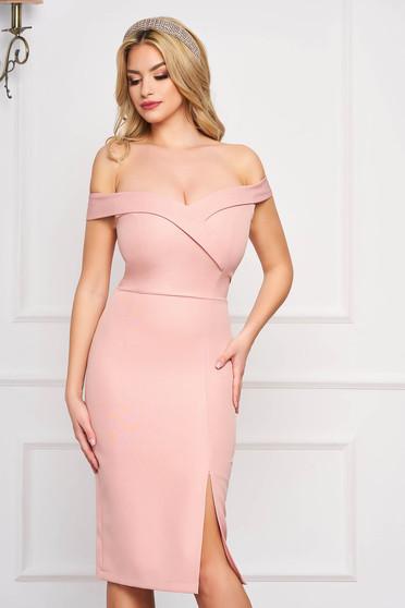 StarShinerS lightpink dress slit occasional off-shoulder midi pencil with glitter details