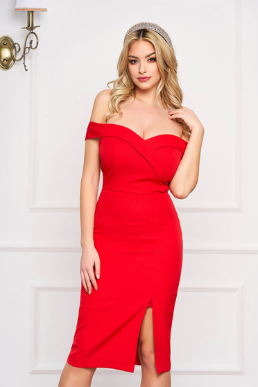 StarShinerS red dress slit occasional off-shoulder midi pencil with glitter details