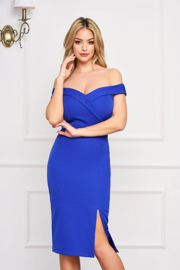 StarShinerS blue dress slit occasional off-shoulder midi pencil with glitter details