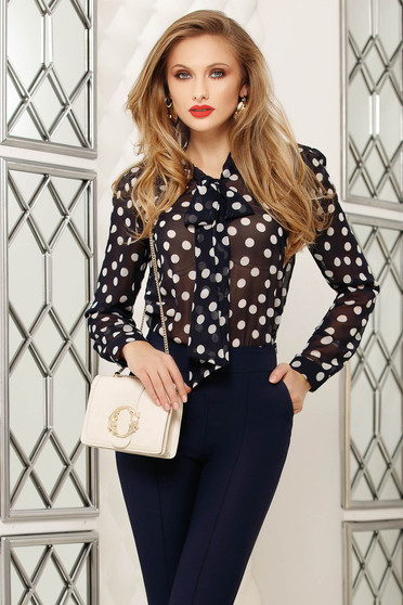 Darkblue women`s blouse from veil fabric dots print office long sleeved