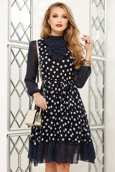 Darkblue dress office cloche midi long sleeved with ruffle details from veil fabric dots print