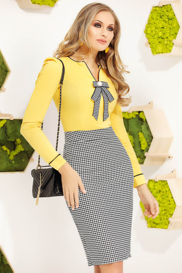 Yellow women`s shirt office tented cotton long sleeved bow accessory