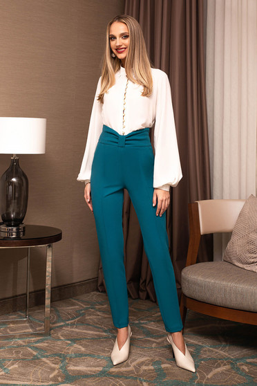 Turquoise trousers office bow accessory conical cloth high waisted